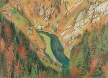 L?Eplattenier, Charles (Schweiz, 1874?1946). Die Schlucht. Pastell auf Papier. Unten links signiert. Verso mit Widmung.   41:56,5 cm.