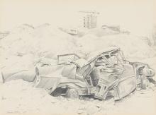 Yvel, Claude (Frankreich, geboren 1930). Autowrack, 1969. Bleistift auf Papier. Unten links signiert und datiert.    Lichtmass 23,5:31 cm.