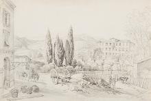 Lory, genannt Lory fils, Gabriel Mathias (1784?1846). Zwei Ansichten in der Umgebung von Nizza. Zwei belebte Dörfer. Bleistift, signiert G. Lory fils. Goldrahmen.   20,5:31 bzw. 21:28 cm.