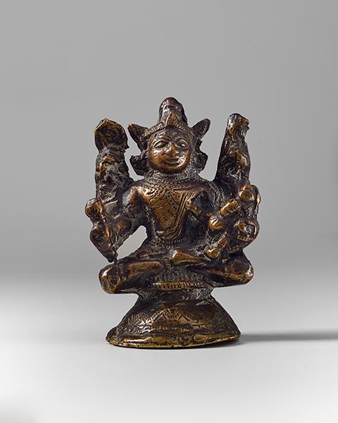 Kleine Buddha Figur Indien 18 Jh Bronze Mit Vier Armen