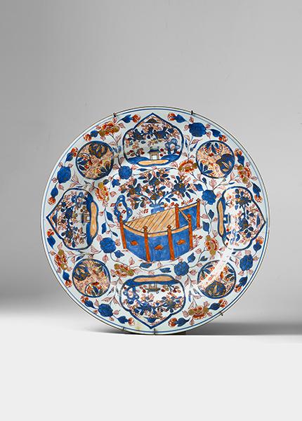 Platte china 18 jh rund flacher spiegel schr ge fahne for Spiegel und fahne