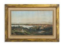 Dubois, Jean (1789-1849). «Ansicht von Genf». Ansicht vom rechten Ufer auf Rousseau-Insel mit Blick auf Salève und das Montblanc-Massiv im Hintergrund. Du Bois pinx. Himely sculp. Kol. Aquatinta....