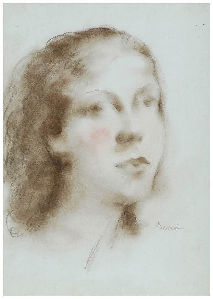 FRANCESC SERRA (1912-1976) dibujo al carbón y
