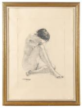 CASIMIR MARTINEZ TARRASSO (1898-1980), Desnudo, Carboncillo