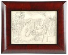 PERE PRUNA OCERANS (1904-1977), Dos jóvenes en el balcón, D