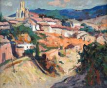 """PERE ARRIBAS PEREZ (1924-1996) """"LANDSCAPE IN TIANA""""."""