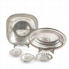 GROUP OF FIVE SILVER TRAYS