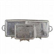 TWO SILVER TRAYS AND A SILVER CARDCASE