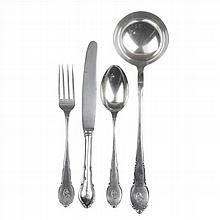 SILVER FLATWARE OF EIGHT SERVICES