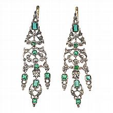 SILVER EARRINGS, MARCASITA AND COULORED STONES