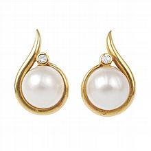 DIAMONDS AND MABE PEARL EARRINGS