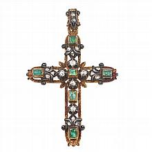 EMERALDS AND DIAMONDS CROSS FROM THE 19TH CENTURY