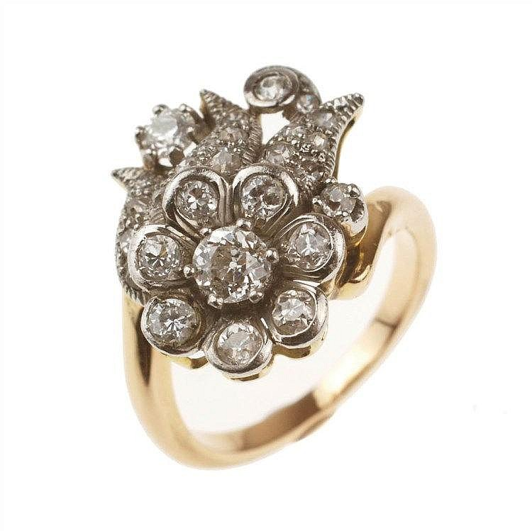 diamonds and gold and platinum ring