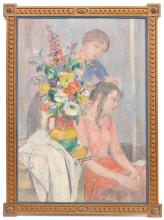 "PAU ROIG (1879-1955). ""BRUSHING HER DAUGHTER'S HAIR""."