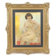 LLUIS MASRIERA (1872-1958), Nude., Oil on board.