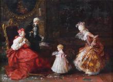 """SALVADOR SÁNCHEZ BARBUDO (1857-1917). """"VISIT TO THE CARDINAL"""", Rome."""