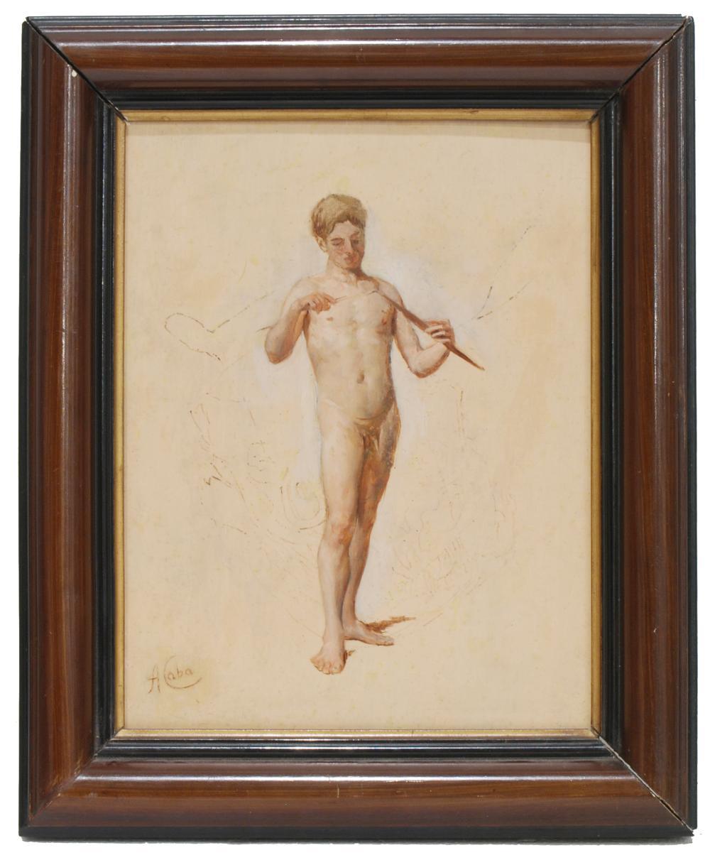 "ANTONIO CABA CASAMITJANA (1838-1907). ""Male Nude""."
