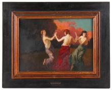 """LLUIS MASRIERA (1872-1958) """"BAILABLE (LA DANZA DE LOS VELOS)"""", CIRCA 1907."""