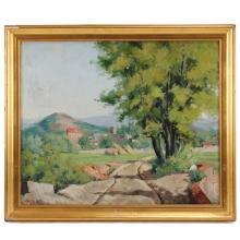 "JOSEP VENTOSA DOMÈNECH (1897-1982) ""LANDSCAPE IN LA SAGRERA"", 1933."