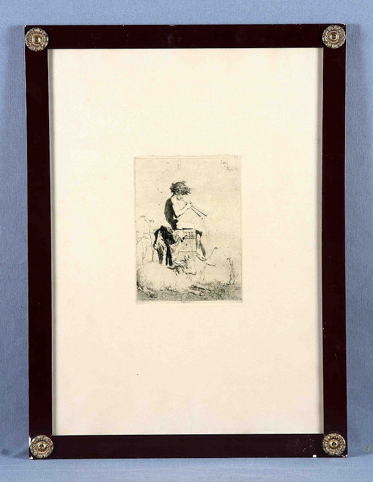 """FORTUNY Y MARSAL, MARIANO (1838-1874). """"Idylio"""". Grabado al aguafuerte. Firmado en plancha y fechado en Roma. Med. huella: 20x14,5 cm. Med. papel: 53x37 cm."""
