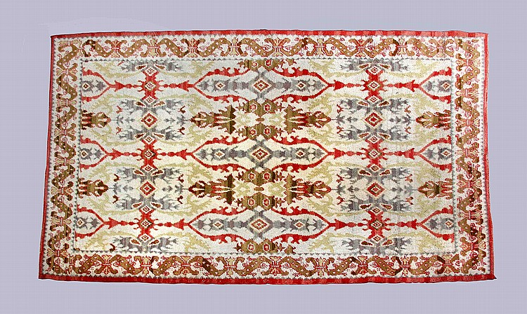 Alfombra realizada en lana virgen con decoraci n de motivos for Alfombras motivos geometricos
