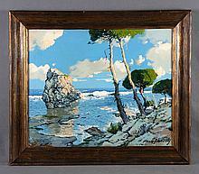 "PAYÁ SANCHÍS, JOSÉ (?-1984). ""Costa mallorquina"". Óleo sobre lienzo, de 50x61 cm. Firmado."