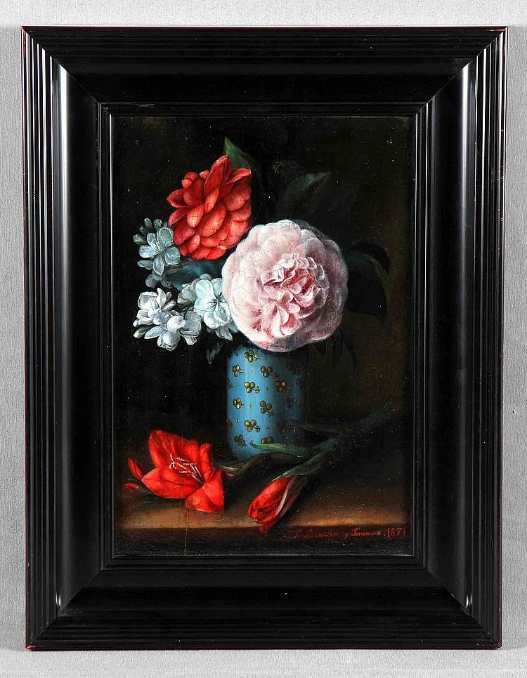 """BRACHO MURILLO, JOSÉ Mª (1827-1882). """"Jarrón con rosa y gladiolo"""". Óleo sobre tabla, de 34x24 cm. Firmado y fechado 1871. Al dorso, numerado 20."""