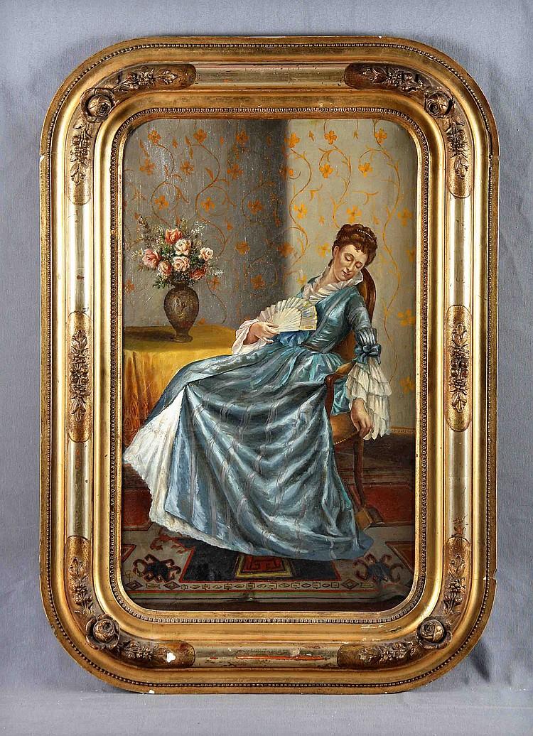 """CABA CASAMITJANA, ANTONIO (1838-1907). """"Dama en el salón"""". Oil on canvas"""