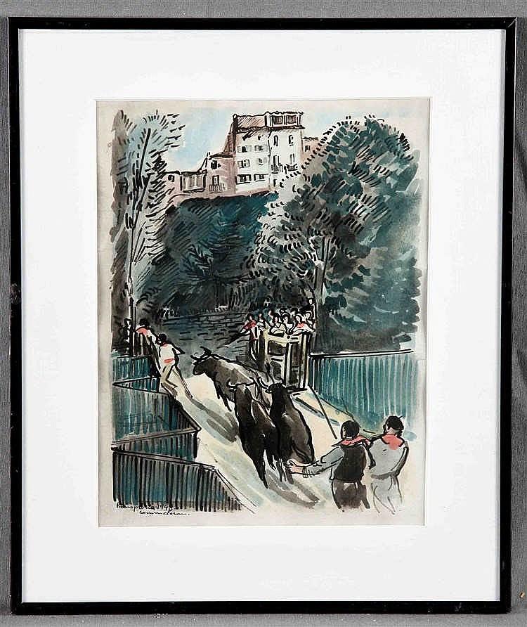 "COMMELERAN CARRERA, JOAN (Barcelona, 1902-1992). ""San Fermines"""