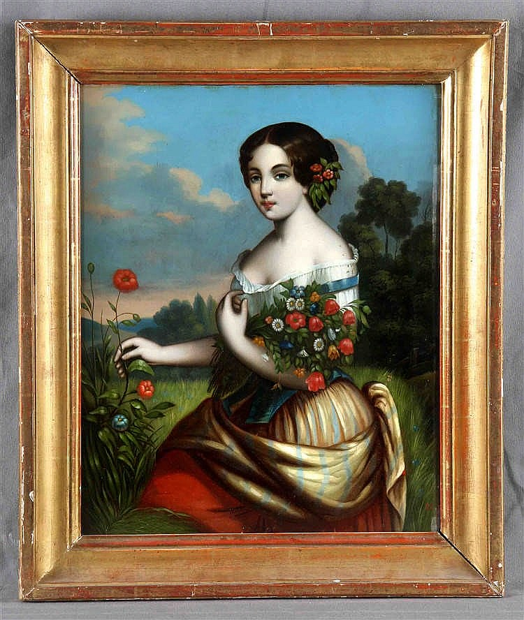 "ANONYMOUS. COLONIAL SCHOOL, EARLY 19TH CENTURY ""Dama con ramo de flores"""