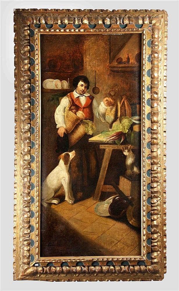 """ALENZA Y NIETO, LEONARDO. 19TH CENTURY. """"Campesino con perro"""""""