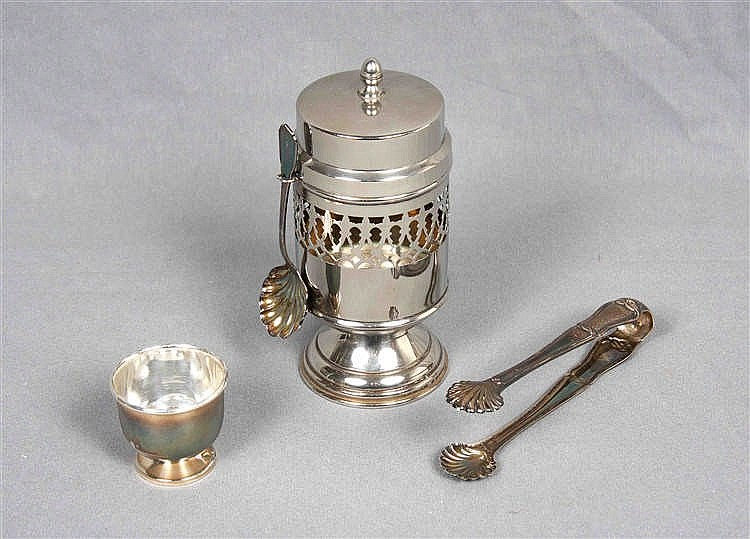 A SILVER-PLATED ICE BUCKET; SUGAR TONGS;