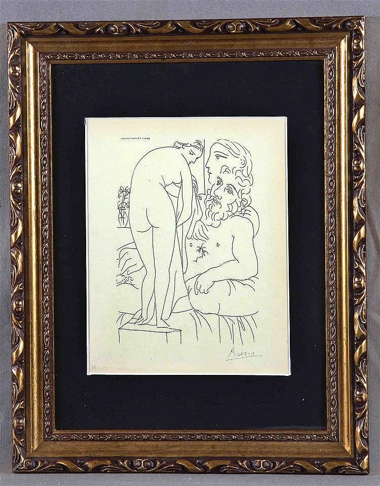 """PICASSO, PABLO. """"El escultor y la modelo"""""""