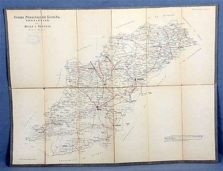 A MAP OF THE PROVINCES OF AVILA AND SEGOVIA, CIRCA 1930
