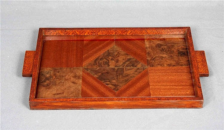 A WOOD AND CRYSTAL TRAY