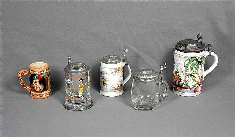 FIVE BEER MUGS