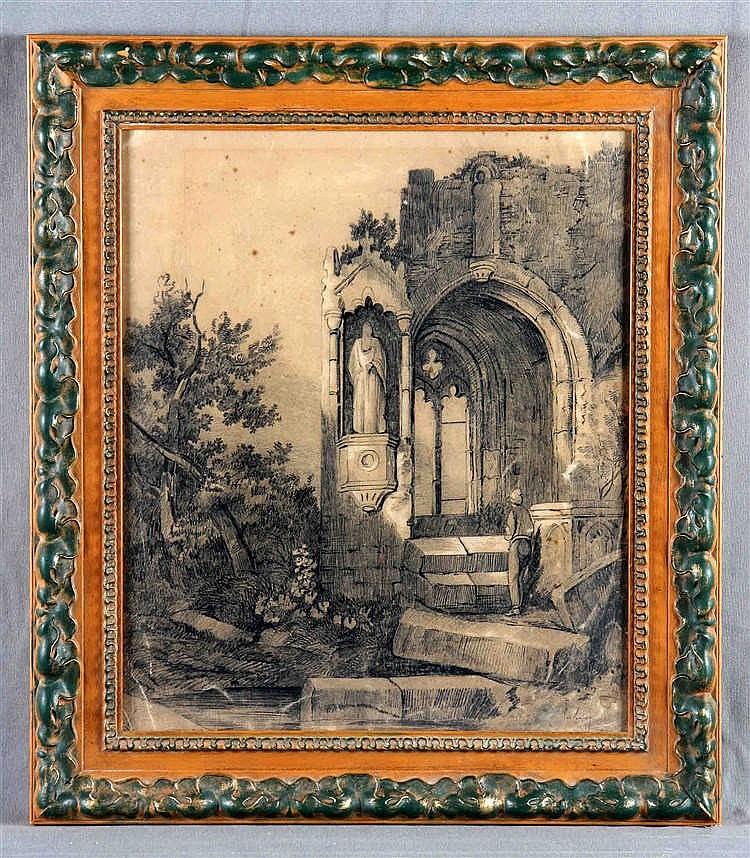 """ATTRIBUTED TO MARIANO FORTUNY. """"Ruinas de una iglesia con personaje"""""""