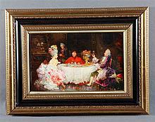 """SÁNCHEZ BARBUDO, SALVADOR (1857-1917). """"Escena con personajes de época y Cardenal"""". Oil on canvas"""