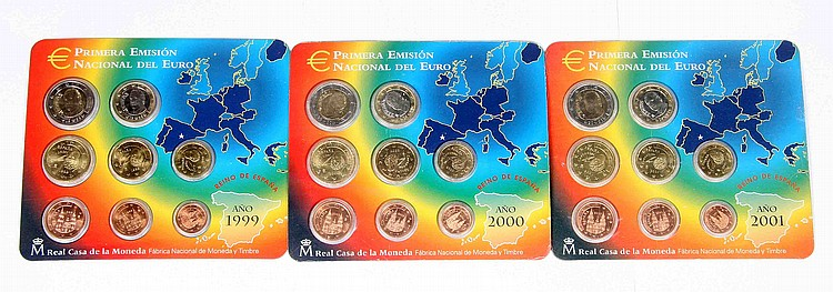 A SET OF THREE COIN HOLDER SHEETS WITH THE FIRST NATIONAL EMISSION EURO, 1999, 2000 AND 2001