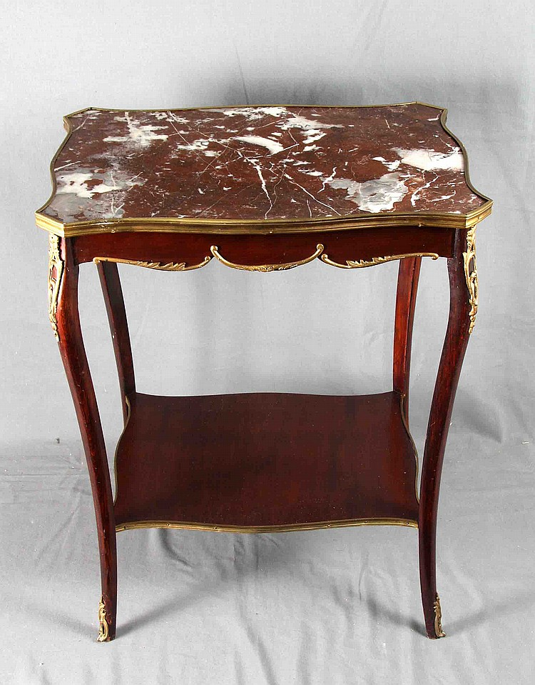 A MARBLE AND GILT BRONZE COFFEE TABLE