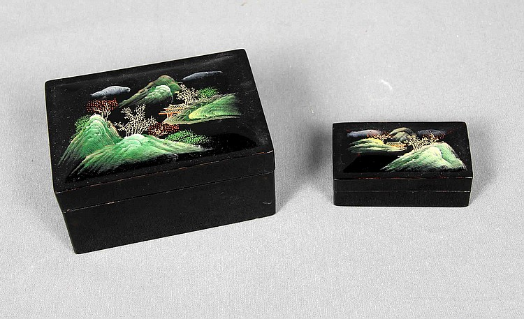 A PAIR OF BLACK LACQUERED JEWELRY BOXES