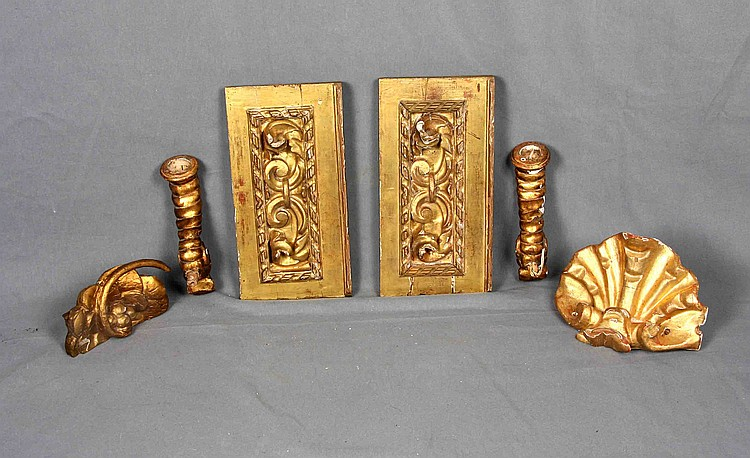 A SET OF SIX GILT WOOD PIECES
