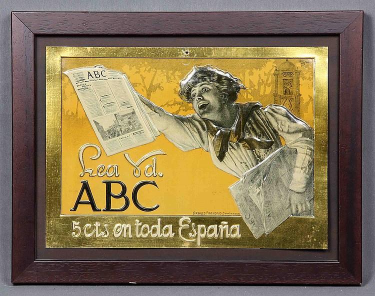 ABC NEWSPAPER ADVERTISING POSTER, CIRCA 1930