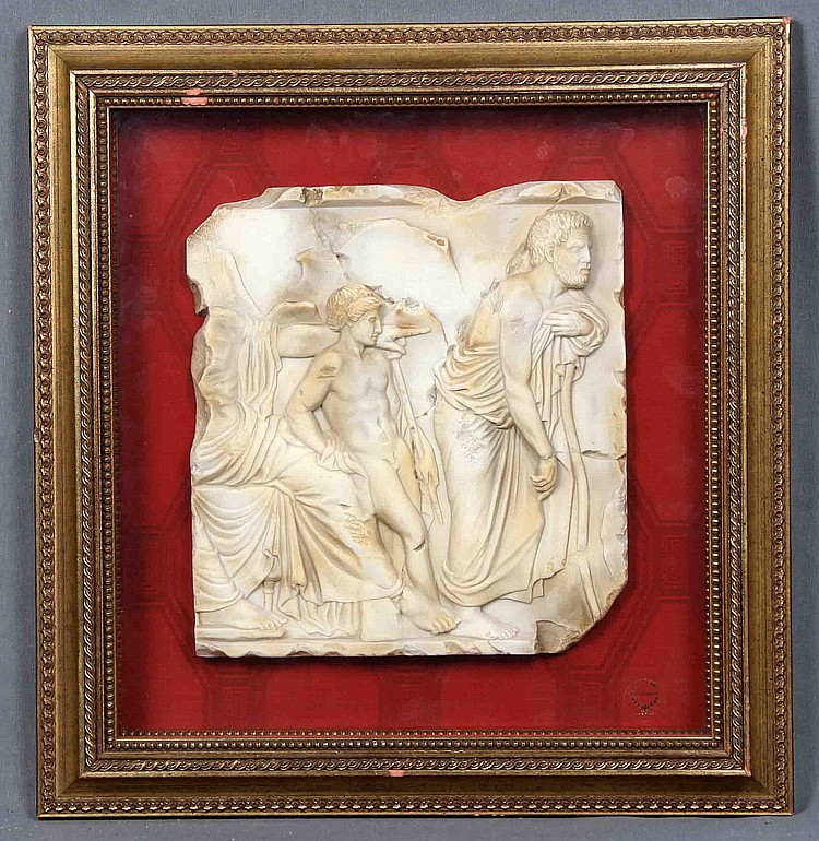 A PAIR OF FRAMED RELIEF CARVED MARBLE PLAQUES