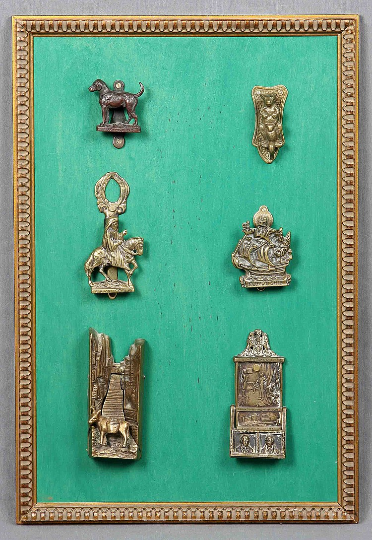 A SET OF SIX VICTORIAN STYLE BRONZE LATCHES