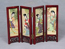 A JAPANESE MINIATURE CRYSTAL AND WOOD FOLDING SCREEN