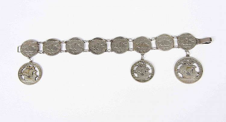 AN ANTIQUE PORTUGAL SILVER COIN BRACELET