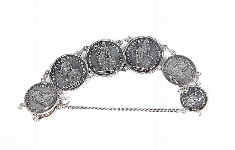 AN ANTIQUE FRENCH SILVER COIN BRACELET