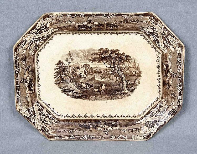 SAN JUAN DE AZNALFARACHE OCTAGONAL DISH, 19TH CENTURY