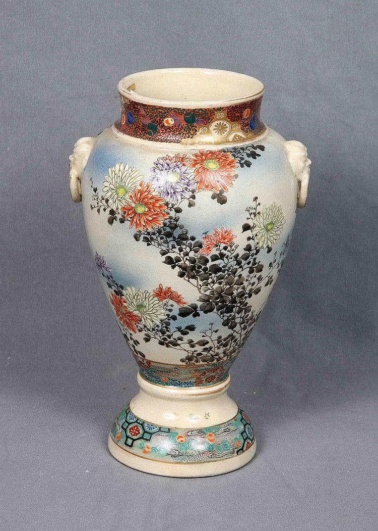 JAPANESE  SATSUMA POLYCHROME PORCELAIN VASE, 19TH CENTURY